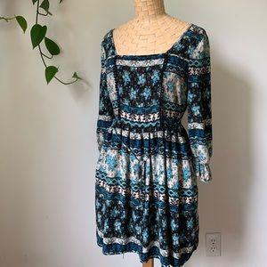 Band Of Gypsies Blue Floral Milkmaid Dress